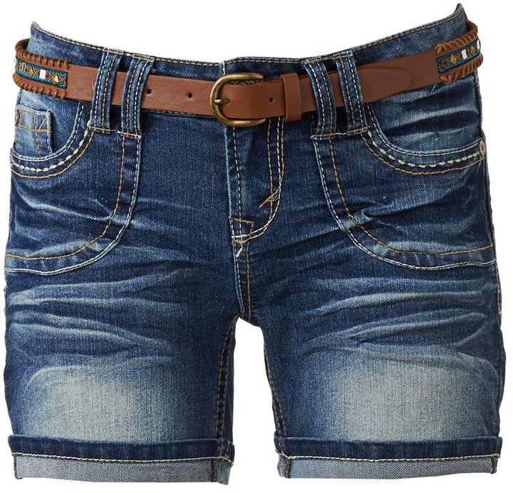 Wallflower cuffed denim midi shorts - juniors
