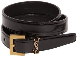 Saint Laurent 20mm Mini Monogram Leather Belt