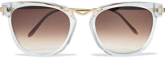 Thierry Lasry Choky Cat-eye Acetate And Gold-tone Sunglasses - White