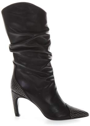 Aldo Castagna Black Leather Boots With Metal Studs