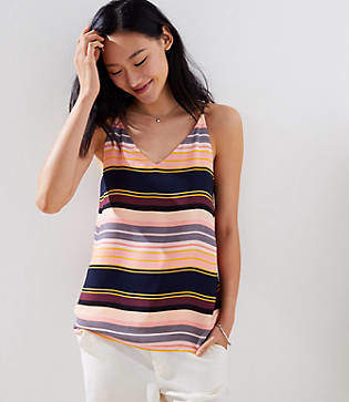 LOFT Striped Bar Back Strappy Cami