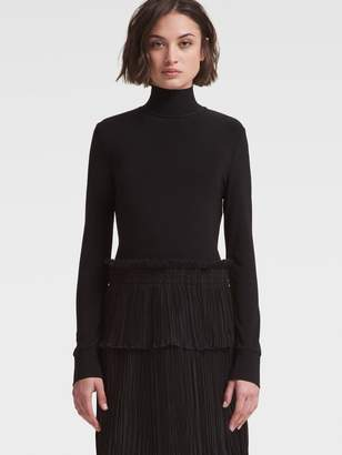 DKNY Turtleneck Sweater Dress With Pleated Skirt
