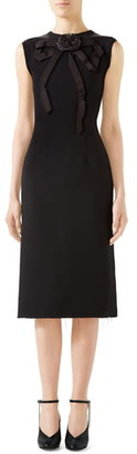 Gucci Bow Neck Sleeveless Cady Crepe Pencil Dress