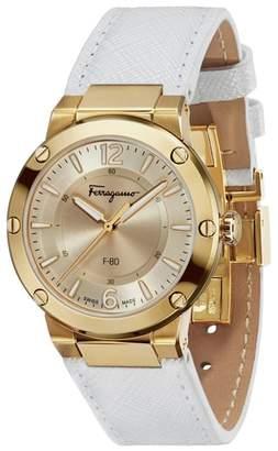 Salvatore Ferragamo F-80 Saffiano Leather Strap Watch, 34mm