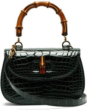 Gucci Bamboo Handle Crocodile Leather Bag - Womens - Green
