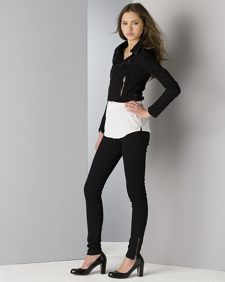Juicy Couture Black Motorcycle Denim Jacket, Zip-Front Ruffled Tank Top and Black Denim Legging