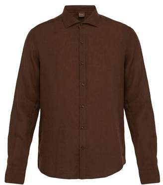 Once Milano - Crushed Linen Shirt - Mens - Brown