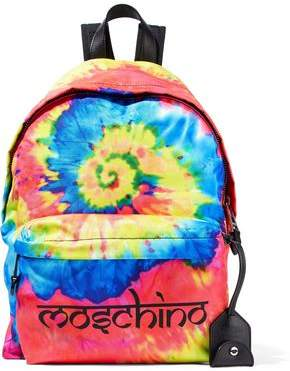 Moschino Leather-Trimmed Printed Tie-Dyed Shell Backpack