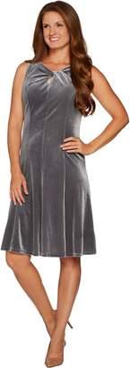 Susan Graver Stretch Velvet Sleeveless Twist Neck Dress