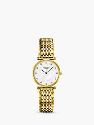 Longines L45122878 Unisex La Grande Classique Diamond Bracelet Strap Watch, Gold/Mother of Pearl