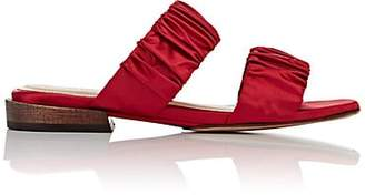 Mari Giudicelli MARI GIUDICELLI WOMEN'S ASAMI RUCHED SATIN SLIDE SANDALS - RED SIZE 5