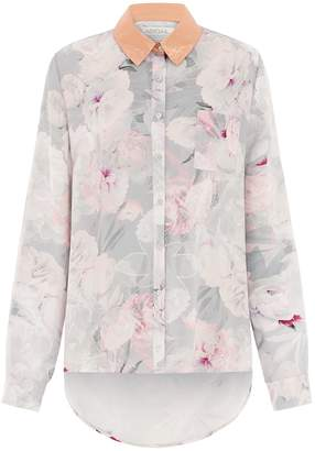 Abigail London - Silk Rose Shirt in Floral Print with Copper Collar