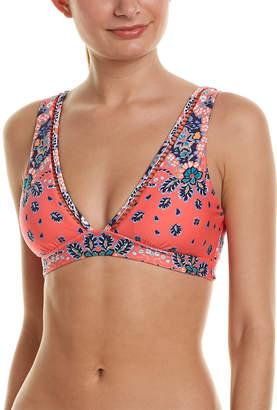 Red Carter Plunge Bikini Top
