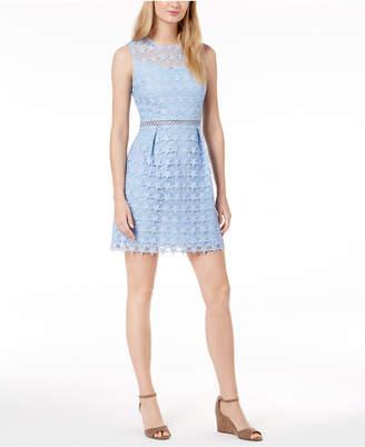 Maison Jules Star-Pattern Lace Fit & Flare Dress