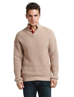 Lynz Pure Men's Mock Turtleneck Sweater Button Up Polo Cable Knit Sweater Pullover Tops L