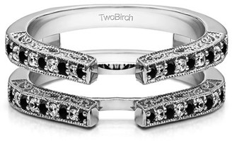 TwoBirch Cathedral Style Ring Guard with Millgrained Edges and Filigree Design in Sterling Silver (0.29ctw)