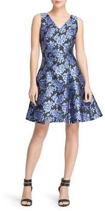 Donna Karan Floral Jacquard Skater Dress
