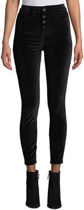 DL1961 Premium Denim Chrissy High-Rise Velvet Skinny Jeans with Button Fly