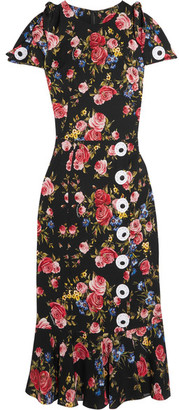 Dolce & Gabbana - Floral-print Silk-blend Charmeuse Dress - Black $2,995 thestylecure.com