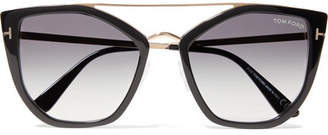 Tom Ford Dahlia Cat-eye Acetate And Gold-tone Sunglasses - Black