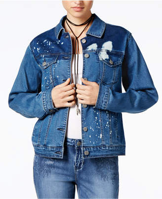 Rampage Juniors' Splatter-Printed Denim Jacket