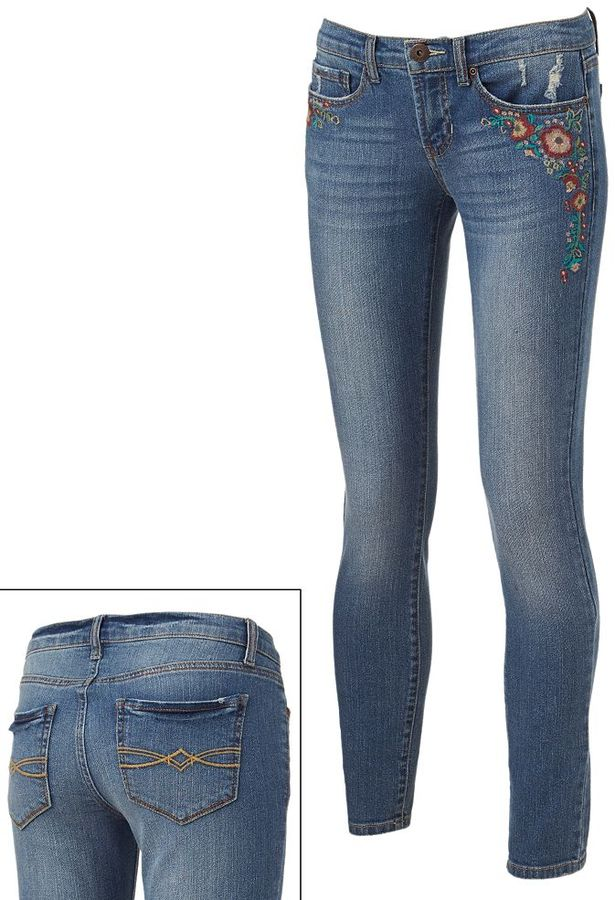 Mudd floral embroidered skinny jeans - juniors