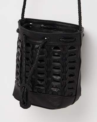 Topshop Leather Braided Mini Bucket Bag