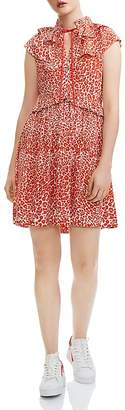 Maje Rutti Ruffled Leopard-Print Mini Dress