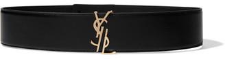 Embellished Leather Waist Belt - Black