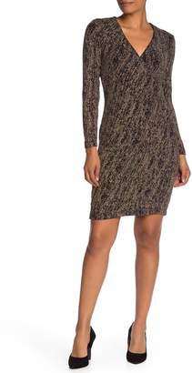 Modern American Designer V-Neck Sparkle Knit Bodycon Dress