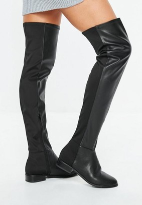 Missguided Black Faux Leather Flat Over The Knee Boots