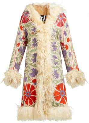 ZAZI Vintage Suzani Embroidered Shearling Lined Coat - Womens - White Multi