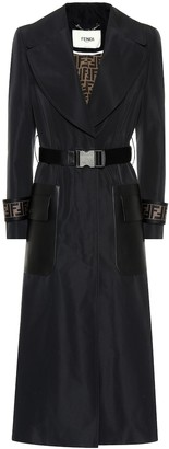Fendi Leather-trimmed faille trench coat