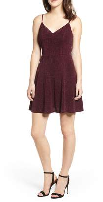 Love, Nickie Lew Glitter Knit Strappy Skater Dress