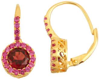 FINE JEWELRY Genuine Garnet & Lab Created Ruby 14K Gold Over Silver Earrings