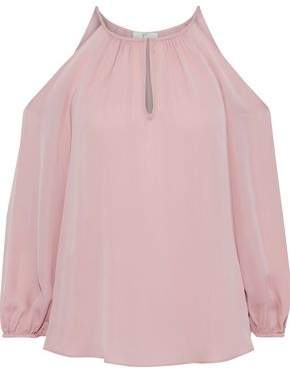 Joie Abdel Cold-Shoulder Washed-Silk Blouse