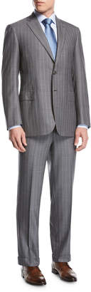 Brioni Striped Super 160s Wool Two-Piece Suit, Gray