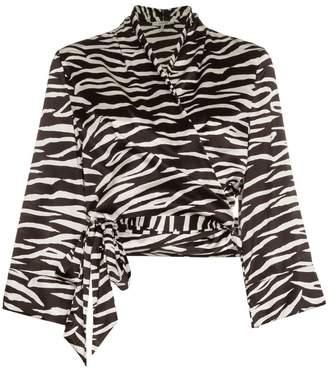 3092f08ab67ac Ganni blakely zebra print silk wrap top