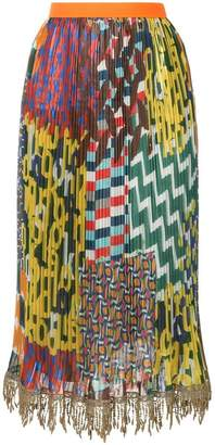 Kolor mixed print pleated skirt