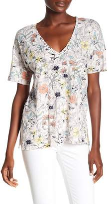 Lucky Brand Floral Print V-Neck Hi-Lo Tee