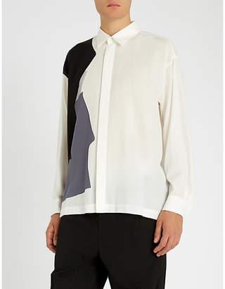 Issey Miyake Contrast-panel oversized woven shirt