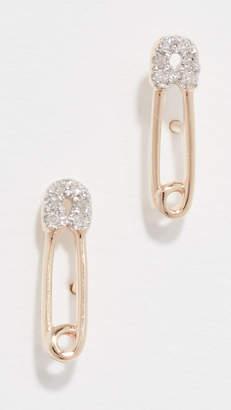 Adina 14k Diamond Safety Pin Post Earrings