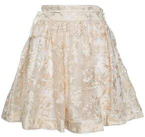 Zimmermann Embroidered Silk-organza Mini Skirt