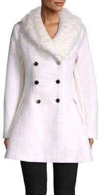 GUESS Double Breasted Faux Fur Coat