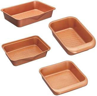 Master Class Smart Ceramic Non-stick 4 Piece Oven/baking Set: Square Baking Tin, Loaf Tin, Baking Tray, & 9 Hole Muffin Tin