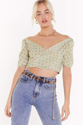 Nasty Gal Polka Dot Shirred Back Wrap Blouse