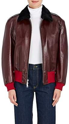 Calvin Klein Women's Shearling-Lined Leather Bomber Jacket