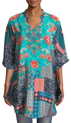 Tolani Belle V-Neck 3/4-Sleeve Mixed-Print Silk Tunic