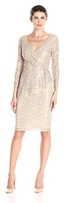 Marina Women's Lace Faux Wrap Cocktail with Assymetrical Peplum $179 thestylecure.com