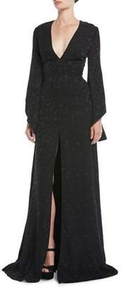 Brandon Maxwell V-Neck Long-Sleeve Pineapple-Jacquard Front-Slit Evening Gown